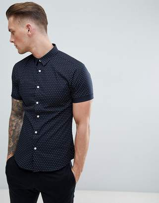 New Look Muscle Fit Shirt In Navy Polka Dot