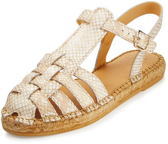 Andre Assous Liliana Snake-Print Leather Fisherman Sandal, Beige $109 thestylecure.com