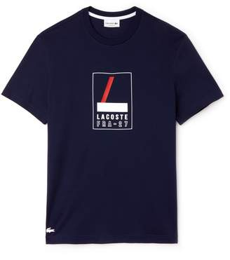 Lacoste Men's Crew Neck Rubber Lettering Soft Jersey T-shirt