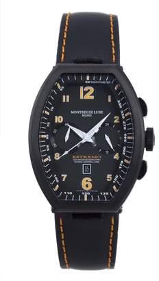 Montres de Luxe Men's EXN 8002 Estremo Titanium and Aluminum Chronograph Luminous Leather Date Watch