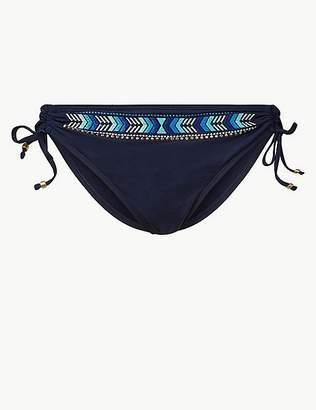 Marks and Spencer Embroidered Hipster Bikini Bottoms