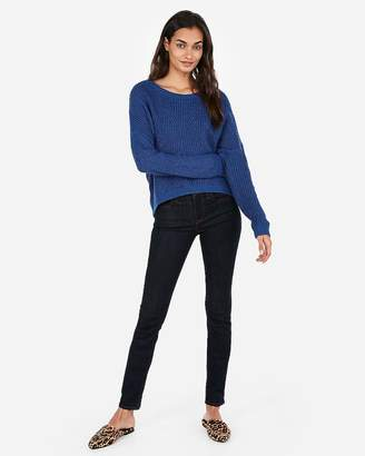 Express Cable Knit Split Back Pullover Sweater