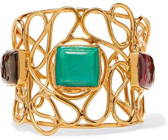 Loulou de la Falaise - Mosaic Gold-plated Glass Cuff - Turquoise