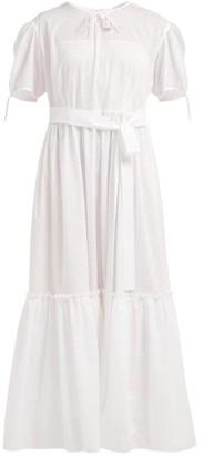 Vika Gazinskaya Perforated Cotton Poplin Maxi Dress - Womens - White