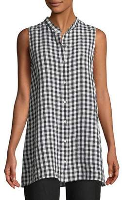 Eileen Fisher Sleeveless Organic Linen Gingham Tunic Shirt, Petite