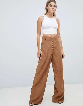 Missguided wide leg cord pants in camel