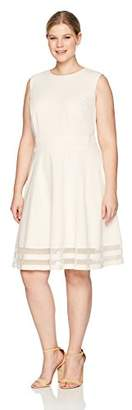 Calvin Klein Women's Plus Size Round Neck Fit and Flare Dress with Sheer Inserts