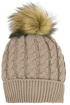 Cold Front Women's Cable Knit Hat with Faux Fur Pom
