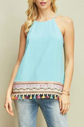 Entro Embroidered Tassel-Trim Tank