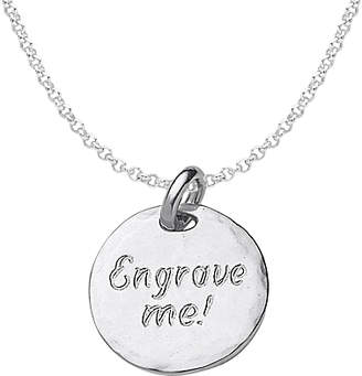 Dower & Hall Engravable Large Disc Pendant Necklace, Silver