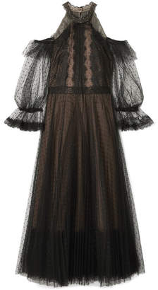 Marchesa Cold-shoulder Lace-trimmed Point D'esprit Tulle Midi Dress - Black