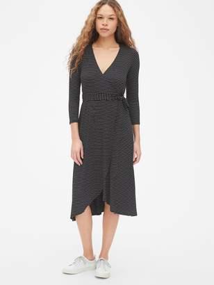 Gap Three-Quarter Sleeve Knit Midi Wrap Dress