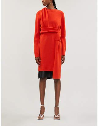 Bottega Veneta Scoop-neck slim-fit brushed wool midi dress