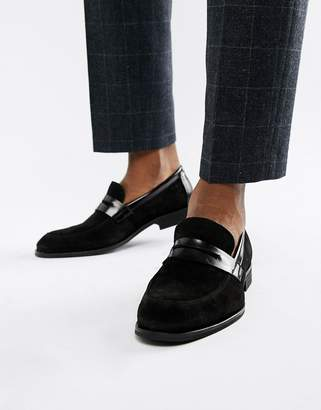 Zign Shoes penny loafers in black suede and leather