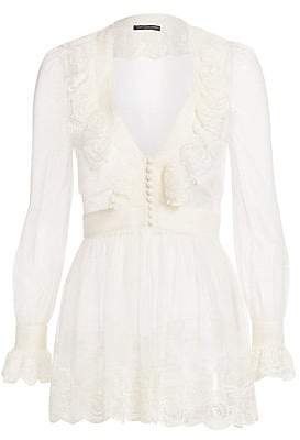 Alexander McQueen Women's Embroidered Tulle Peplum Top