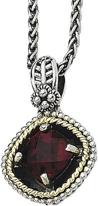 Couture FINE JEWELRY Shey Genuine Garnet Sterling Silver and 14K Yellow Gold Cushion Pendant Necklace