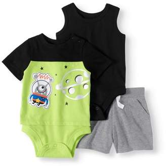 Garanimals Baby Boy 3pc Solid Bodysuit, Twofer Bodysuit and French Terry Shorts Bundle
