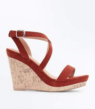New Look Rust Suedette Strappy Cork Wedges