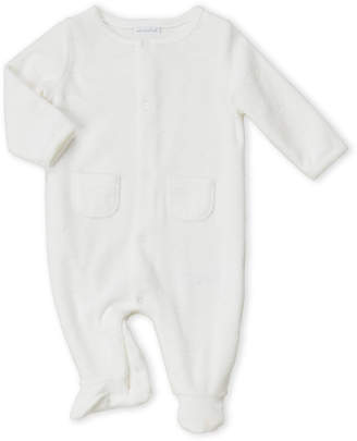 Absorba Newborn) White Velour Cloud Footie