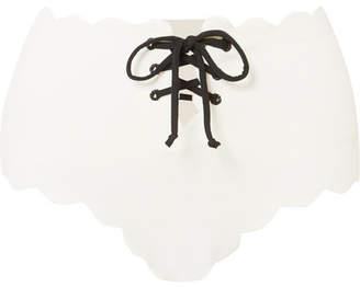 Marysia Swim Riviera Scalloped Lace-up Stretch-crepe Bikini Briefs - White