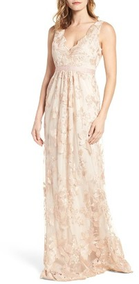 Women's Adrianna Papell Embroidered Tulle Gown $298 thestylecure.com