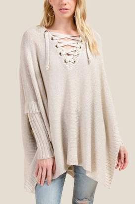 francesca's Kennedy Front Laced Poncho - Heather Oat