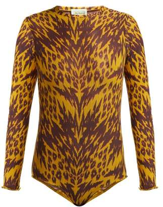 Aries Tiger Print Mesh Bodysuit - Womens - Black Multi