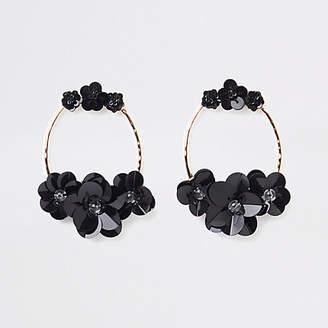 River Island Black gold tone circle sequin hoop earrings