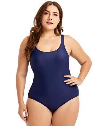 0d1f3fd65c2 Delimira Women s One Piece Swimsuit Modest Plus Size Swimdress Bathing Suit