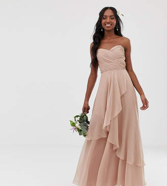 Asos Tall DESIGN Tall Bridesmaid maxi bandeau dress with soft layered skirt