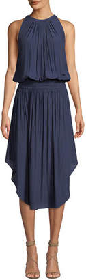 Ramy Brook Audrey Sleeveless Blouson Midi Dress, Navy