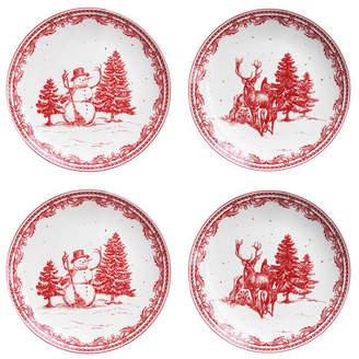 American Atelier Vintage Christmas Salad Plates, Set of 4