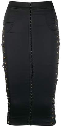 Murmur lace-up detail fitted skirt