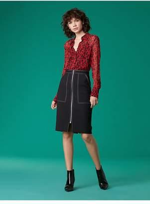 Diane von Furstenberg Long Sleeve Chiffon Blouse