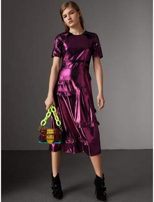 Burberry Short-sleeve Ruffle Detail Lamé Dress - Online Exclusive