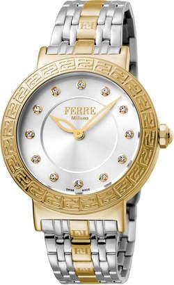 Ferré Milano Women's 38mm Stainless Steel Watch with Bracelet, Golden/Steel