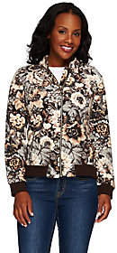 Isaac Mizrahi Live! Printed Floral FleeceBomber Jacket