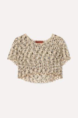 Missoni Cropped Metallic Crochet-knit Top - Gold