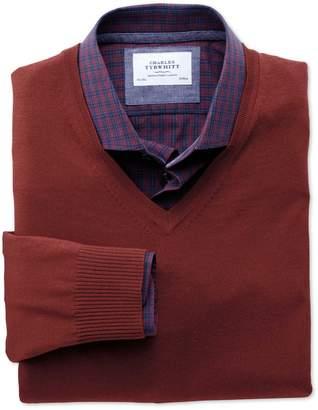 Charles Tyrwhitt Copper Merino V-Neck Wool Sweater Size XS