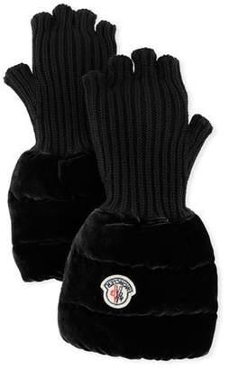 Moncler Fingerless Ribbed Wool Gloves w/Velvet Puffer Combo