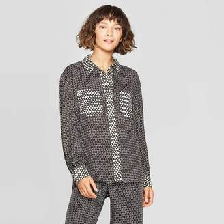 Who What Wear Women's Long Sleeve Collared Button-Down Shirt - Who What WearTM Black