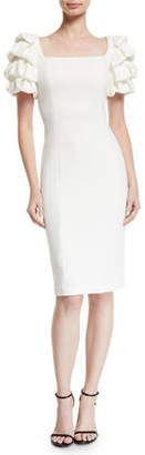 Badgley Mischka Square-Neck Cocktail Dress w/ Looped Sleeves