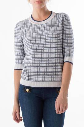 Margaret O'Leary Checkerboard Sweater $139 thestylecure.com