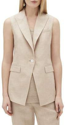 Lafayette 148 New York Vanya One-Button Nexus Linen Vest