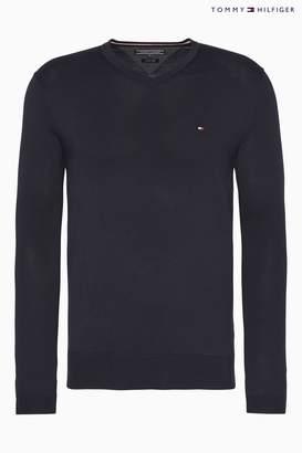Next Mens Tommy Hilfiger Core Cotton Silk V-Neck Sweater
