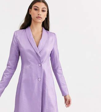 Fashion Union Tall tuxedo blazer dress in metallic jacquard