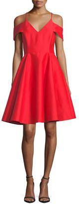 Halston Cold-Shoulder V-Neck Silk Faille Cocktail Dress