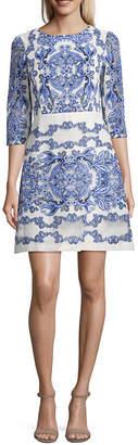 Danny & Nicole Elbow Sleeve Floral A-Line Dress-Petite