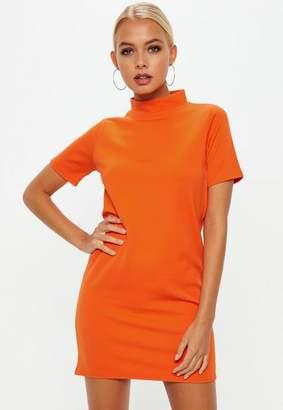Missguided Orange High Neck Scuba Shift Dress