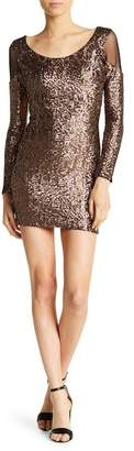 Dress the Population Jaden Long Sleeve Sequin Mesh Dress